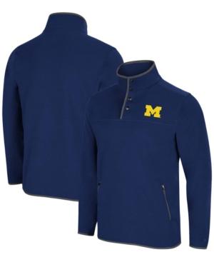 Men's Navy Michigan Wolverines Rebound Snap Pullover Jacket