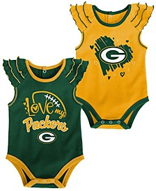 Newborn Girl's Gold-Tone, Green Green Bay Packers Two-Pack Touchdown Bodysuit Set