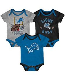 Baby Girls and Boys Blue, Black, Heathered Gray Detroit Lions Champ Bodysuit Set, 3 Pack