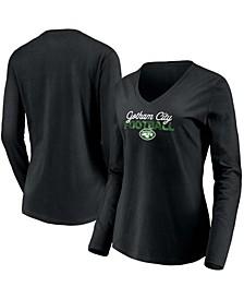 Women's Black New York Jets Highly Valued Long Sleeve V-Neck T-shirt