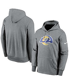 Men's Heather Charcoal Los Angeles Rams Fan Gear Primary Logo Therma Performance Pullover Hoodie