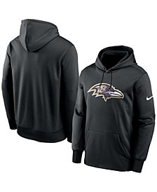 Men's Black Baltimore Ravens Fan Gear Primary Logo Therma Performance Pullover Hoodie