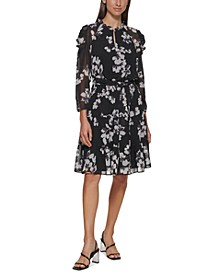 Floral Print Belted Long Sleeve Dress