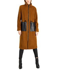 Faux-Leather Pocket Walker Coat, Created for Macy's