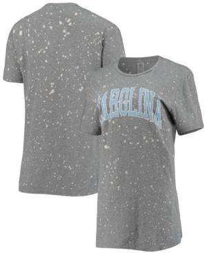 Women's Gray North Carolina Tar Heels Tri-Blend Bleached Splash-Dye T-shirt