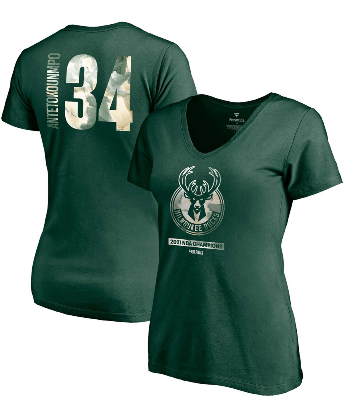 Women's Giannis Antetokounmpo Hunter Green Milwaukee Bucks 2021 Nba Finals Champions Believe The Game Name Number V-Neck T-shirt