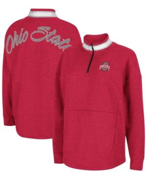 Women's Heathered Scarlet Ohio State Buckeyes Alice 2-Hit Fleece Quarter-Zip Jacket