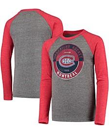 Youth Big Boys Red Montreal Canadiens Rink Splitter Tri-Blend Raglan Long Sleeve T-Shirt