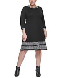 Plus Size Contrast-Trim Sweater Dress