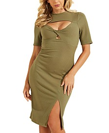 Ribbed Cutout Twist-Front Dress