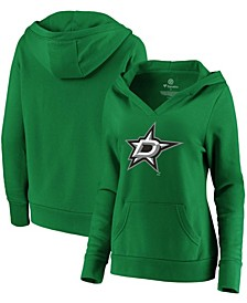 Plus Size Kelly Green Dallas Stars Primary Logo V-Neck Pullover Hoodie