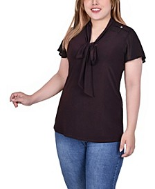 Plus Size Short Sleeve Knit Top with Chiffon Shoulders and Sleeves