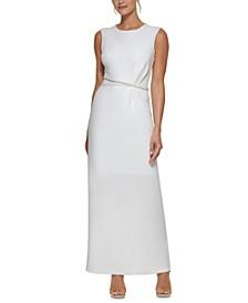 Beaded-Waist Column Gown