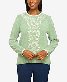 Women's Missy Echo Canyon Chenille Scroll Center Embroidery Sweater