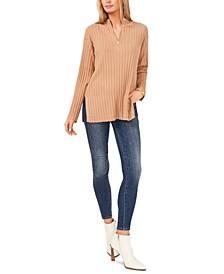 Plus Size Quarter-Zip Ribbed Sweater