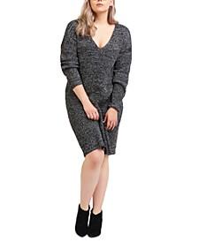 Trendy Plus Size V-Neck Sweater Dress