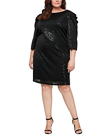 Plus Size Sequined Gathered-Shoulder Sheath Dress