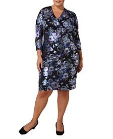 Plus Size Foil Lace Scuba Dress