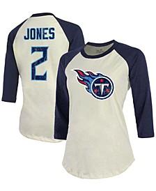 Women's Julio Jones Cream, Navy Tennessee Titans Player Name Number Raglan 3/4 Sleeve T-shirt