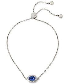 Silver-Tone Signature Logo & Oval Crystal Slider Bracelet