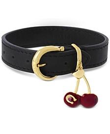 Gold-Tone Signature C Cherry Charm Leather Flex Bracelet