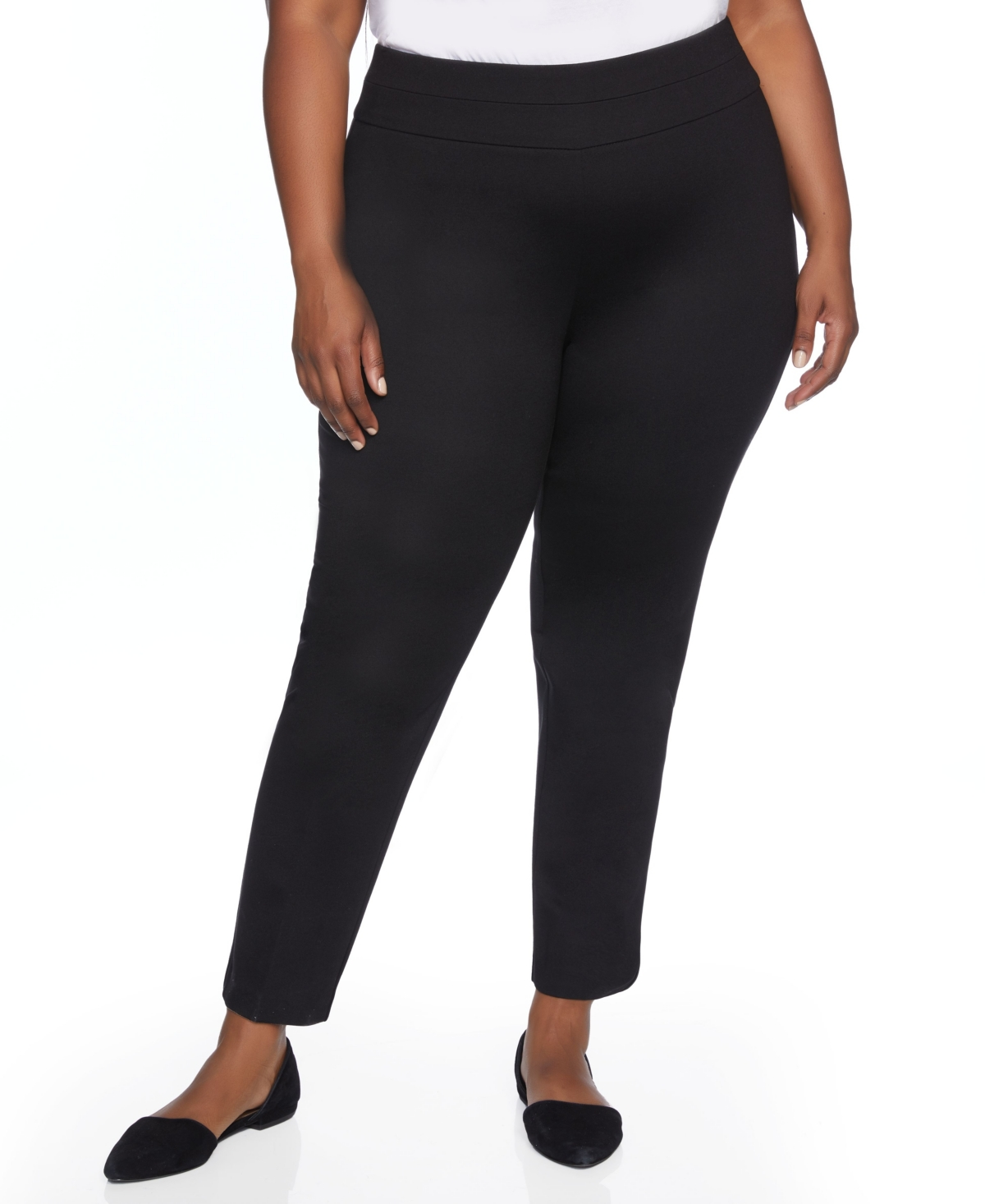 Plus Size Slim Ponte Pant with Wide Waistband