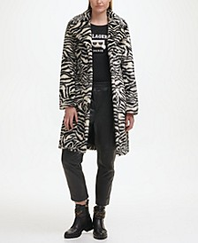 Zebra Faux Fur Coat with Faux Leather Belt
