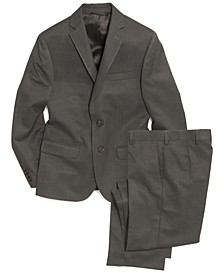 Grey Solid Suit Jacket & Pants, Big Boys Husky
