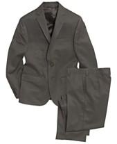 f8738f976 Lauren Ralph Lauren Grey Solid Suit Jacket & Pants, Big Boys Husky