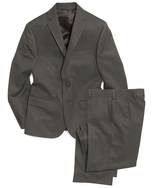 Lauren Ralph Lauren Grey Solid Suit Jacket & Pants, Big Boys