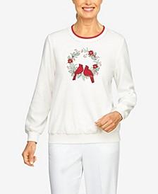 Plus Size Classics Cardinal Wreath Pullover