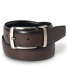 Perry Ellis Portfolio Men's Leather Burnished Edge Big and Tall Reversible Belt