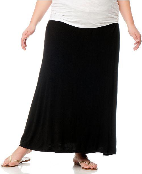 564cf01b2b7fa ... Motherhood Maternity Plus Size Foldover-Waist Maternity Maxi Skirt ...