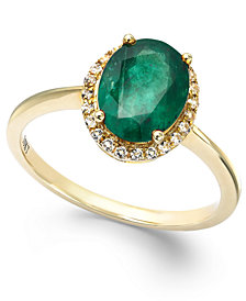 Emerald and White Sapphire Oval Ring in 10k Gold (2 ct. t.w.), Created for Macy's