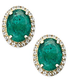 Emerald and White Sapphire Oval Stud Earrings in 10k Gold (2-1/2 ct. t.w.), Created for Macy's
