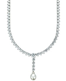Arabella Cultured Freshwater Pearl (10mm) and Swarovski Zirconia (75-3/4 ct. t.w.) Necklace in Sterling Silver