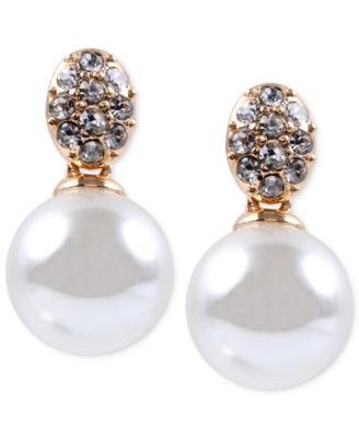 Image of Anne Klein Gold-Tone Crystal and Glass Pearl Earrings