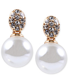Anne Klein Gold-Tone Crystal and Glass Pearl Earrings