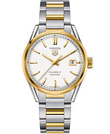 TAG Heuer Men's Swiss Automatic Carrera Calibre 5 Two-Tone Stainless Steel Bracelet Watch 39mm WAR215B.BD0783