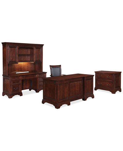 Cambridge, 5 Piece Set (Executive Desk, Credenza Desk, Desk Hutch, Desk Chair and Lateral File)