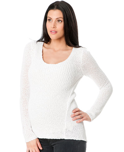 A Pea In The Pod Long-Sleeve Pointelle-Knit Sweater