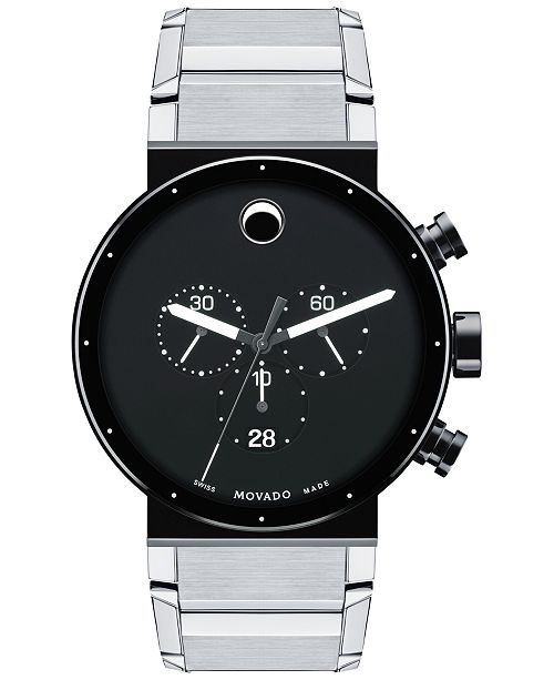 ... Movado Men s Swiss Chronograph Sapphire Synergy Stainless Steel  Bracelet Watch 42mm 0606800 ... 2fc717e7d