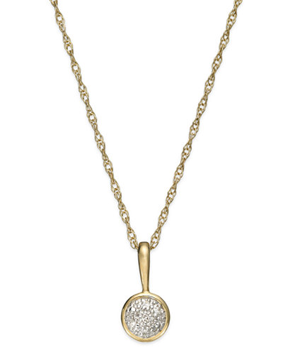 Diamond Accent Circle Pendant Necklace in 14k Gold