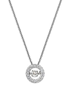 Twinkling Diamond Star™ Diamond Circle Pendant Necklace in 10k White Gold (1/4 ct. t.w.)
