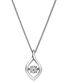 Twinkling Diamond Star™ Diamond Accent Open Teardrop Pendant Necklace in Sterling Silver