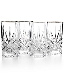 Dublin Platinum Highball Glasses, Set of 4