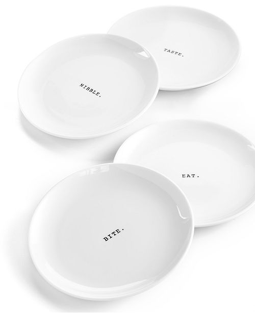 The Cellar Whiteware Words Set of Four Tidbit Plates, Created for Macy's