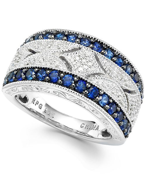 Macy's Sapphire (1 ct. t.w.) and Diamond (1/10 ct. t.w.) Ring in Sterling Silver