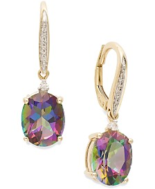 Mystic Topaz (6-1/3 ct. t.w.) and Diamond Accent Oval Drop Earrings in 14k Gold