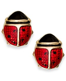 Red Enamel Ladybug Stud Earrings in 10k Gold